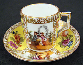 Antique Dresden Miniature Scenic Cup & Saucer