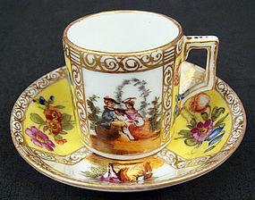 Antique Dresden Miniature Scenic Cup & Saucer