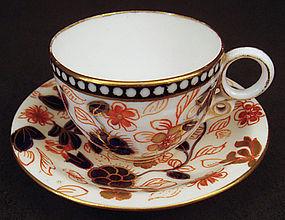 Antique Imari Coalport Demitasse Cup & Saucer