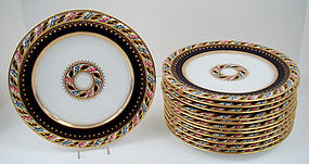 12 Superb Antique Cauldon for Tiffany Plates