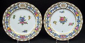 12 Antique Lamm Dresden Floral Plates