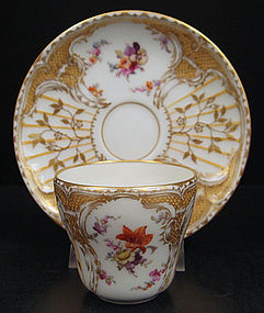 Exquisite Antique KPM Floral Demitasse Cup & Saucer