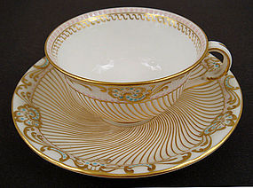 Antique Copelands Jeweled Tea Cup & Saucer