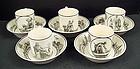 5 Antique Creil Cream Ware Cups & Saucers