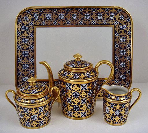 Handsome Antique Limoges Demitasse Set on Tray
