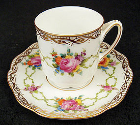 Adorable Antique Thieme Dresden Demitasse Cup & Saucer