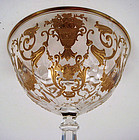 Antique Bohemian Enameled Crystal Champagne Glass