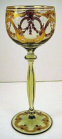 Handsome Bohemian Enameled Wine Glass