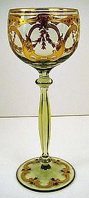 Handsome Bohemian Enameled Wine Glass