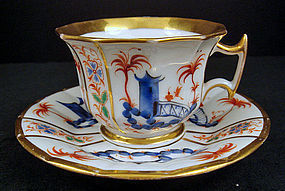 Antique Paris Porcelain Chinoiserie Tea Cup & Saucer