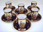 6 Antique Scenic Dresden Chocolate Cups & Saucers