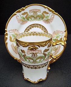 Antique Nouveau Pouyat Limoges Chocolate Cup & Saucer