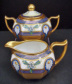 Antique Sugar & Creamer, Pickard Artist Osborne