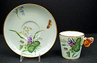 Antique Minton Butterfly Handled Tea Cup & Saucer
