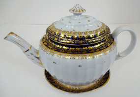 Rare Antique English Tea Pot with Stand, c. 1810