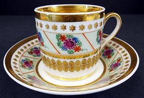 Elegant Antique Paris Porcelain Tea Cup & Saucer