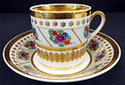 Elegant Antique Paris Porcelain Tea Cup & Saucer