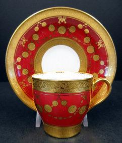 Formal Antique Minton Demitasse Cup & Saucer
