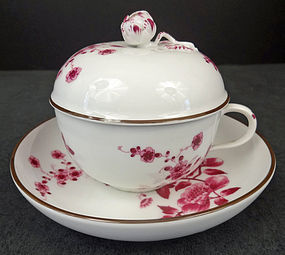 Antique KPM Royal Berlin Covered Tea Cup & Saucer