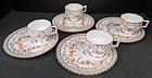 Set of 4 Antique Lamm Dresden Tea Cups & Biscuit Trays