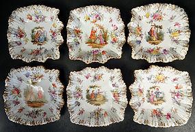 6 Antique Hirsch Dresden Scenic Dessert Dishes