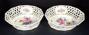 Splendid Antique Nymphenburg Reticulated Baskets