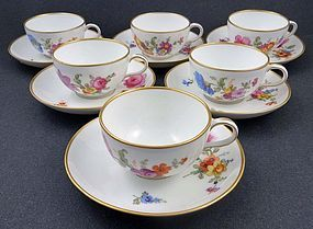 6 Charming Antique Berlin Demitasse Cups & Saucers