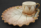 Antique Willets Belleek Tea Cup & Biscuit Tray