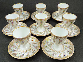 8 Lovely Antique Wolfsohn Dresden Egg Cups