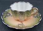 Continental Silver Overlay Demitasse Cup & Saucer
