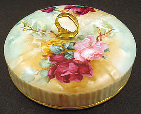 Antique Hand Painted Limoges Bon Bon Dish, Roses