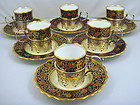 6 Aynsley Demitasse Cups & Saucers, Sterling Holders