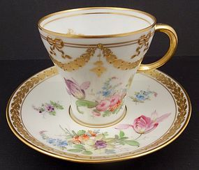 Charming Antique Donath Dresden Tea Cup & Saucer