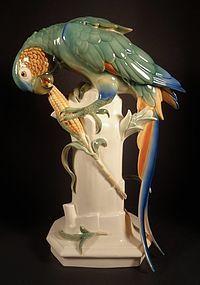 Art Deco Schwarzburg Macaw Bird Porcelain Figurine