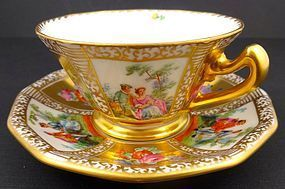 Antique Dresden Scenic Demitasse Cup & Saucer