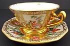 Antique Dresden Scenic Demitasse Cup & Saucer