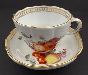 Antique Meissen Fruit Painted Tea Cup & Saucer, C. 1750