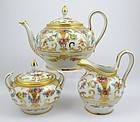 Exquisite Antique Dresden 3 Piece Tea Set