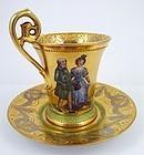Antique Wehsener Dresden Chocolate Cup & Saucer