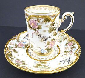 Antique Austrian Japanese-Style Chocolate Cup & Saucer