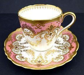 Dainty Antique Copeland Enameled Demitasse Cup & Saucer