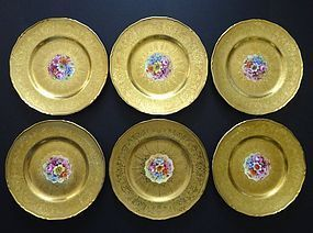 6 Royal Worcester Gilded Service Plates
