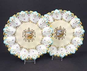 Pair of Antique Coalport Fancy Cabinet Plates