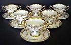 13 Elegant Antique Dresden Sherbet Cups & Saucers
