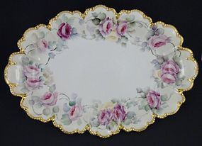 Antique Haviland Limoges Hand Painted Platter with Roses
