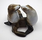 Vintage Pair of Rosenthal Porcelain Kissing Sea Lions