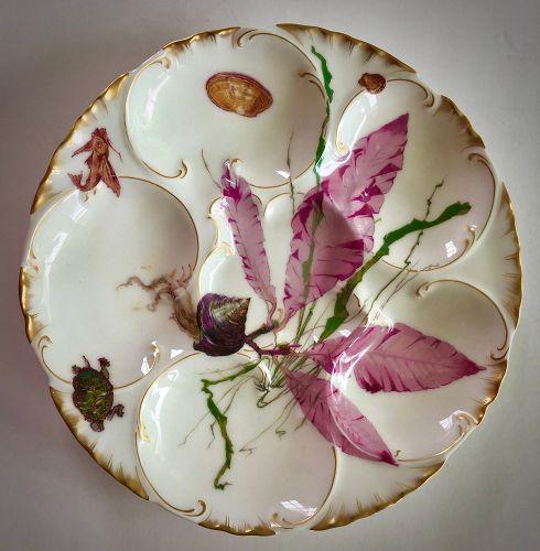 Antique Haviland & Co. Limoges Marine Life Oyster Plate
