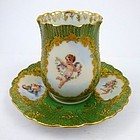 Antique Heufel Dresden Chocolate Cup & Saucer
