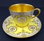Antique Doulton Yellow Gilded Demitasse Cup & Saucer