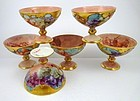 6 Antique Pouyat Limoges Hand Painted Punch Cups